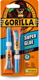 Gorilla Super Glue, Two 3 Gram Tubes - Clear